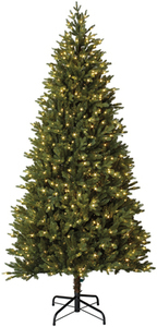 Holiday Living 7.5-ft Pre-lit MontaSpruce Slim Artificial Christmas Tree with 800 Constant Warm White LED Lights
