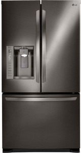 LG 24.1-cu ft French Door Refrigerator with Dual Ice Maker (Fingerprint-Resistant Black Stainless Steel)