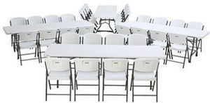 Lifetime Combo-Four 8' Commercial Grade Nesting Folding Tables and 32 Folding Chairs