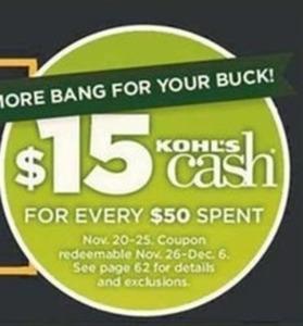 Kohls Cash $15 for Every $50 Spent