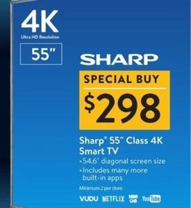 """Sharp 55"""" Class 4K Smart TV"""