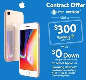 Apple iPhone 7, 7+, 8, 8+, X  w/ $300 Walmart Gift Card