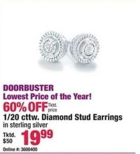 1/20 cttw. Diamond Stud Earrings