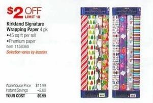 Kirkland Signature Wrapping Paper 4 Pk