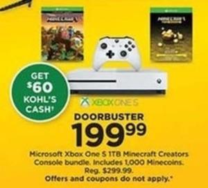 Microsoft Xbox One S Ttb Minecraft Creators Console Bundle + $60 Kohl's Cash