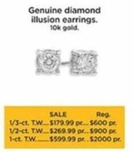 1/2-ct T.W. Genuine Diamond Illusion Earrings