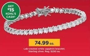 Lab Created White Sapphire Bracelet + $15 Kohl's Cash
