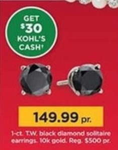 1-Ct Tw Black Dlamond Solitaire Earrings + $30 Kohl's Cash