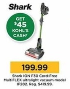 Shark ION F30 Cord-Free MultiFLEX Ultralight Vacuum IF202 Plus $45 Kohl's Cash