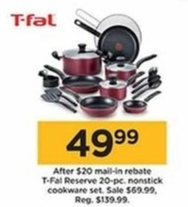 T-Fal Reserve 20 Piece Nonstick Cookware Set (With Rebate)