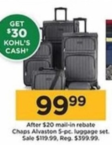 Chaps Alvaston 5-Piece Luggage Set After Rebate +$30 Kohl's Cash