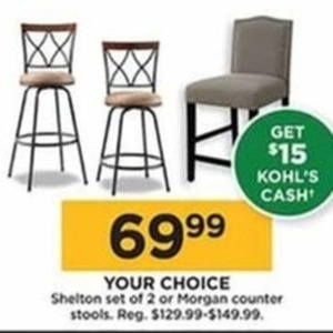 Shelton Set of 2 Counter Stools +$15 Kohl's Cash
