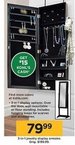 3-in-1 Jewelry Armoire Display + $15 Kohl's Cash