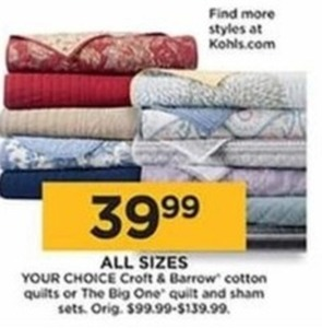 Croft & Barrow Cotton Quilts (All Sizes)