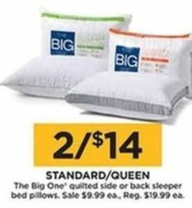 The Big One Quilted Side Or Back Sleeper Bed Pillows