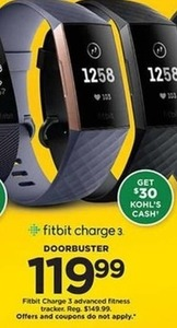 Fitbit Charge 3 Advanced Fitness Tracker with $30 Kohl's Cash