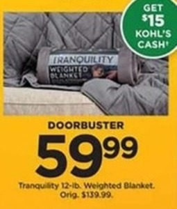 Tranquility 12-lb Weighted Blanket with $15 Kohl's Cash
