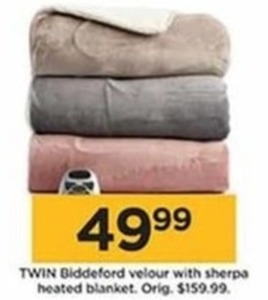 Twin Biddeford Velour with Sherpa Heated Blanket