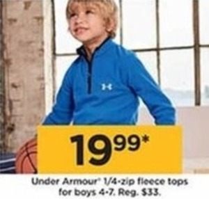 Under Armour 1/4-Zip Fleece Tops For Boys