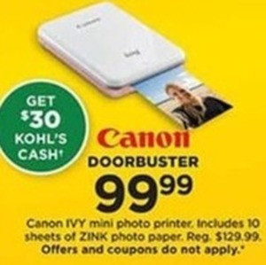 Canon IVY Mini Photo Printer with $30 Kohl's Cash