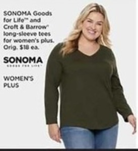 Sonoma Goods for Life and Croft and Barrow Long-Sleeve Tees for Women's Plus