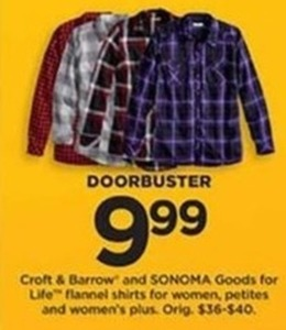 Croft & Barrow and Sonoma Flannel Shirts Women, Petite and Women's Plus