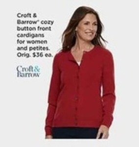 Croft & Barrow Cozy Button Front Cardigans Women and Petities