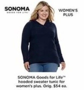 Sonoma Goods For Life Hooded Sweater Tunic For Women's Plus
