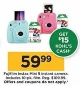 Fujifilm Instax Mini 9 Instant Camera + $15 Kohl's Cash