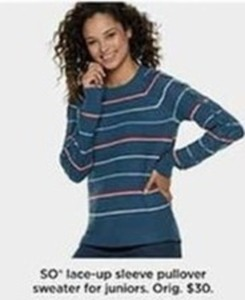 SO Lace Up Sleeve Pullover Sweater For Juniors