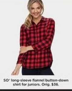 SO Long-Sleeve Flannel Button-Down Shirt for Juniors