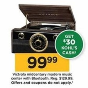 Victrola Midcentury Modern Music Center with Bluetooth + $30 Kohl's Cash