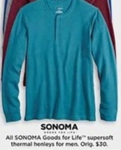 Men's Sonoma Supersoft Thermal Henleys
