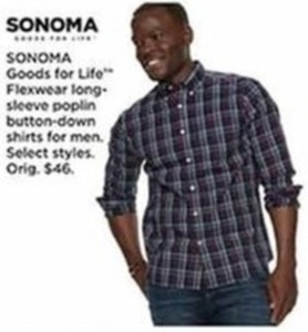 Men's Sonoma Flexwear Long Sleeve Poplin Button Down Shirts