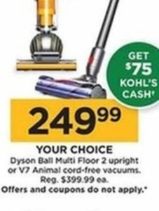 V7 Animal Cord Free Vacuum + $75 Kohl's Cash