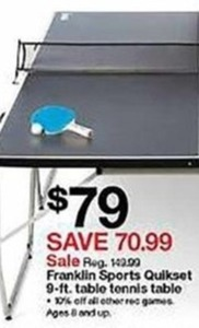 Franklin Sports Quikset 9-ft. Table Tennis Table