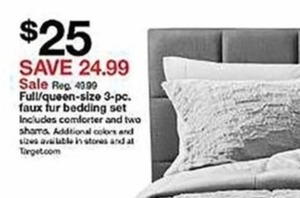 3-Pc. Faux Fur Bedding Set - Full/Queen