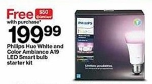 Free $50 Target Giftcard w Purchase of Philips Hue White &Color Ambiance A19 Smart Bulb Starter Kit