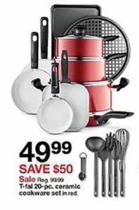 T-Fal 20-Pc Ceramic Cookware Set