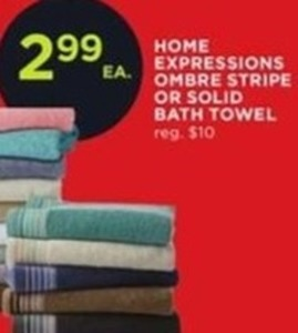 Home Expressions Ombre Stripe or Solid Bath Towel