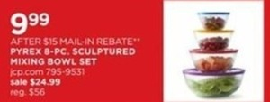 After $15 Mail In Rebate - Pyrex 8 Pc. Sculptured Mixing Bowl Set