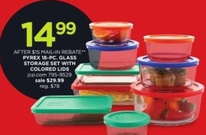 After Rebate -  Pyrex 18 Pc. Glass Storage Set With Colored Lids