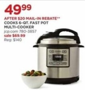 Cooks 6 Qt.Fast Pot Multi Cooker (After Rebate)