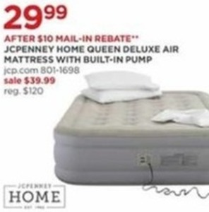 JCPenny Home Queen Deluxe Air Mattress After Rebate