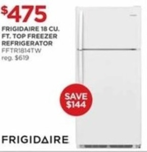 Frigidaire 18 CU FT Top Freezer Refrigerator