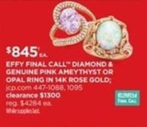 Effy Final Call Diamond & Genuine Pink Ameythyst or Opal Ring in 14K Rose Gold
