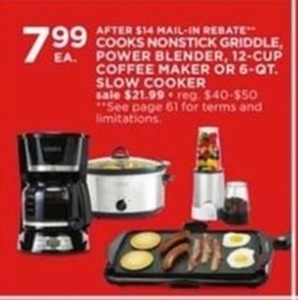 After Rebate - Cooks Nonstick Griddle, Power Blender, 12 Cup Coffee Maker Or 6 Qt Slow Cooker
