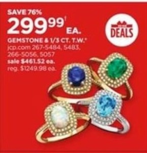 Gemstone & 1/3 CT T.W. Rings