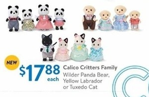 Calico Critters Family: (Wilder Panda Bear, Yellow Labrador, or Tuxedo Cat)