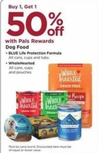 Blue Life Protection Formula and WholeHearted Dog Food